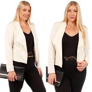 Jackets & Blazers - NEW Stylish Plus Size Blazer Jacket 123X IVORY